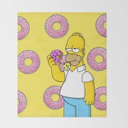 Homer Simpson eating a Donut Throw Blanket