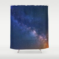 starry night Shower Curtains featuring Starry Night by Space99