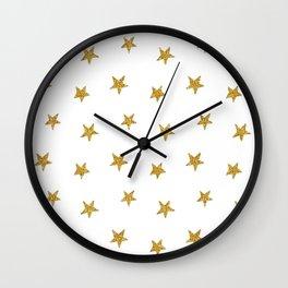 Merry christmas-Stars shining brightly-Gold glitter pattern Wall Clock