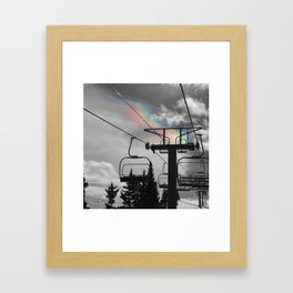 4 Seat Chair Lift Rainbow Sky B&W Framed Art Print