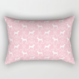 Chihuahua silhouette pink and white florals flower pattern art pattern dog breed Rectangular Pillow