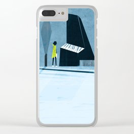 Inside the silver string piano Clear iPhone Case