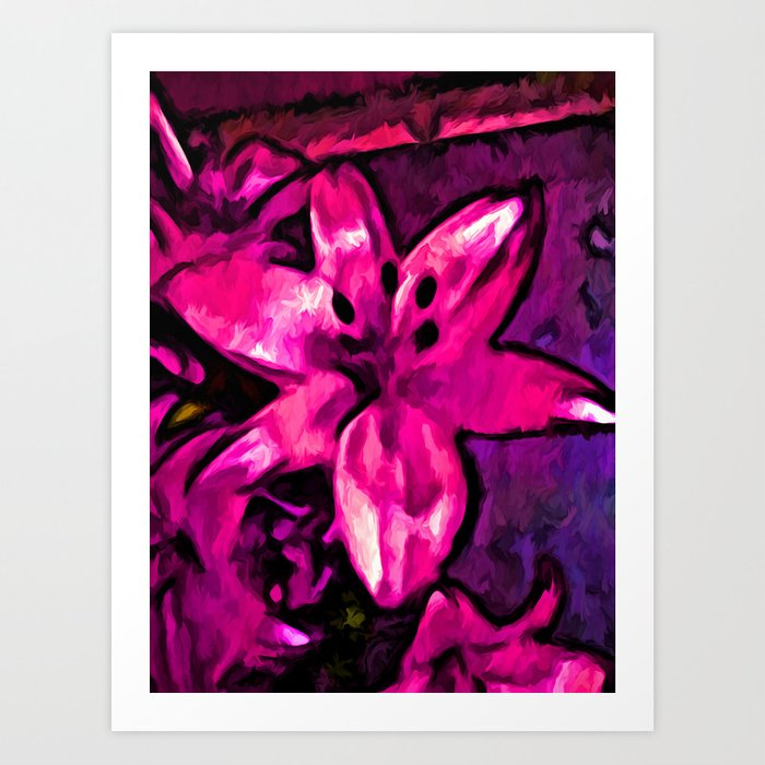 Pink Lily with some Purple Art Print