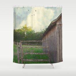 Rustic Summer Barnyard Shower Curtain