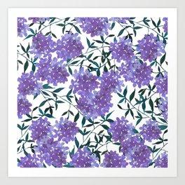 Botanical lavender purple forest green watercolor hortensia leaves Art Print