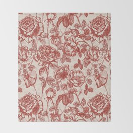 Toile de jouy (Roses) Throw Blanket
