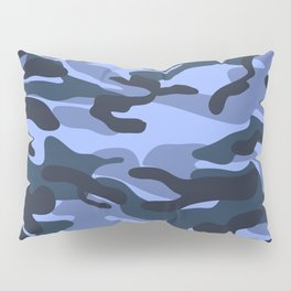 Blue Military Camouflage Pattern Pillow Sham