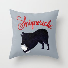 Shipwrecke (Gray and Red) Throw Pillow