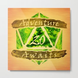 D20 Adventure Awaits Watercolor Nature's Path Metal Print