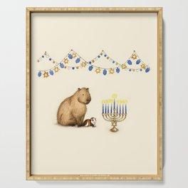 Capy Hanukkah - Capybara and Menorah Serving Tray