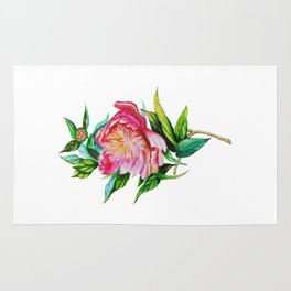 bright red pink peony . Artwork Rug