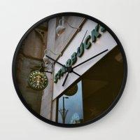 starbucks Wall Clocks featuring Starbucks in Manchester by Stina Nilsson