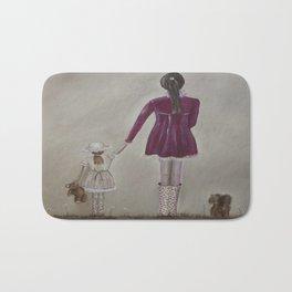 girl and dog Bath Mat