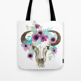 This boho bull skull, features a crown of bright flowers! Tote Bag