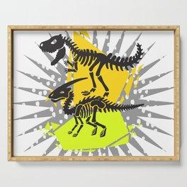 Dinosaur skeleton, color . Serving Tray