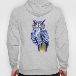 Blue Great Horned Owl Hoody