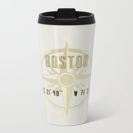Boston - Vintage Map and Location Metal Travel Mug