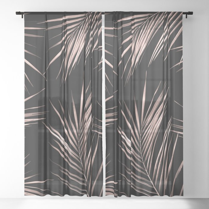 Rosegold Palm Tree Leaves on Midnight Black Sheer Curtain