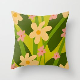 Modern Floral Spring Pattern Throw Pillow