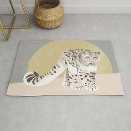 Snow Leopard Yellow Grey Rug