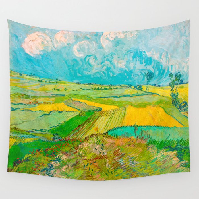 Wheat Fields After The Rain The Plain Of Auvers July 1890 Oil Painting By Vincent Van Gogh Wall Tapestry