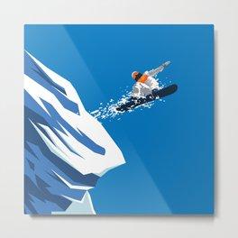 Snow Board Jump Metal Print