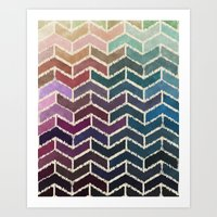 ikat Art Prints featuring Chevron iKat by Steven Womack