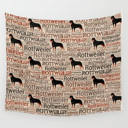 Rottweiler silhouette and word art pattern Wall Tapestry