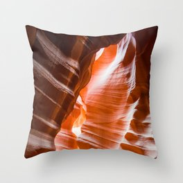 The Passage | Nature Landscape Photography of Wavy Red Rock Formations in Antelope Canyon Arizona Throw Pillow