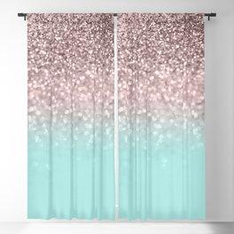 Sparkling Rose Gold Blush Aqua Glitter Glam #1 #shiny #decor #society6 Blackout Curtain