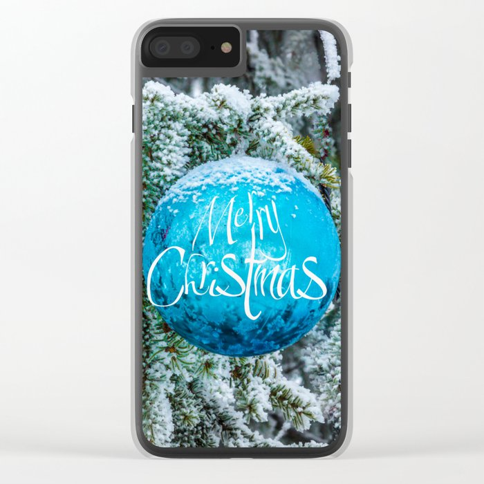 Christmas blue bauble Clear iPhone Case