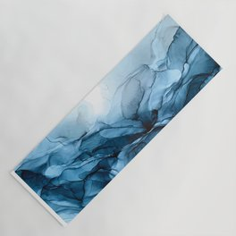 Deep Blue Flowing Water Abstract Painting Yoga Mat