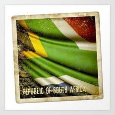 South Africa grunge sticker flag Art Print