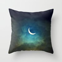 monika strigel Throw Pillows featuring Solar Eclipse 1 by Aaron Carberry
