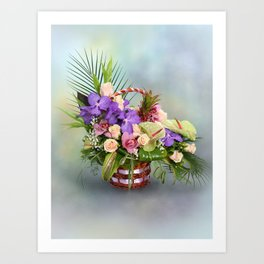 Bouquet with colorful flowers in basket Art Print