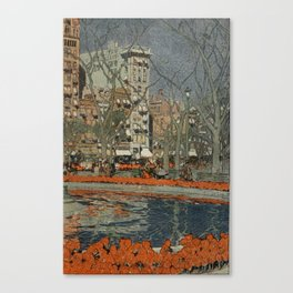Guerin, Jules (1866-1946) - Scribner's Magazine 37 1905 - Tulips bloom in Union Square 2 Canvas Print