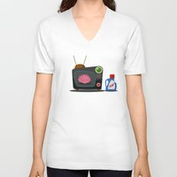 tv V-neck T-shirts featuring Television by Mountain Top Designs