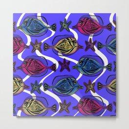 Here fishy FiShY FISHY…underwater gathering on purple blue Metal Print