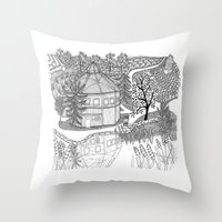 vermont Throw Pillows featuring Vermont Round Barn, Waitsfield Vermont by Vermont Greetings