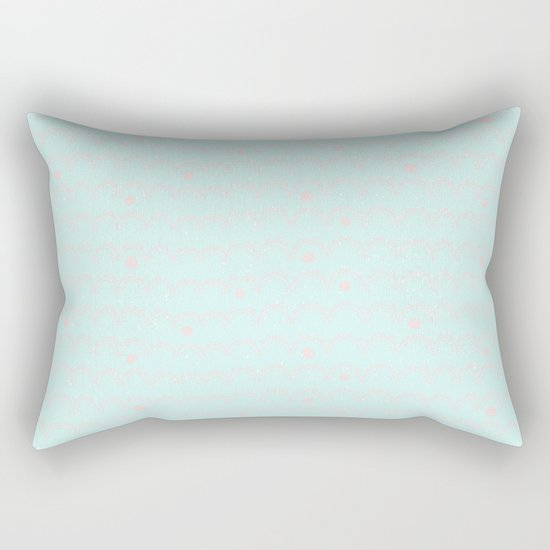 Merry aqua christmas - Funny abstract lines and dots on turquoise backround Rectangular Pillow