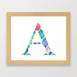 Summer Watercolor Pattern Alpha A Framed Art Print