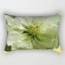Delicate White Flower Blossom & Cream Color Rectangular Pillow