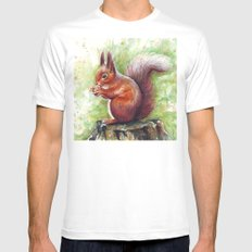 Squirrel Watercolor Painting Mens Fitted Tee White MEDIUM