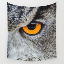 NIGHT OWL - EYE - CLOSE UP PHOTOGRAPHY - ANIMALS - NATURE Wall Tapestry