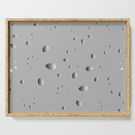 Convex drops and petals on a gray background in nacre. Serving Tray