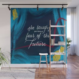 She Laughs - Blue Wall Mural