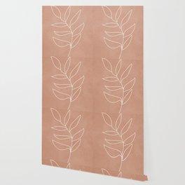 Engraved Leaf Line Wallpaper