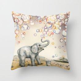 Elephant Bubble Dream Throw Pillow