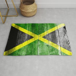 Jamaica Flag Grungy Distressed Board Rug