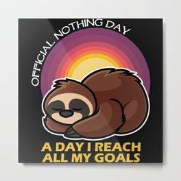Cute Funny Sleepy Sloth Metal Print